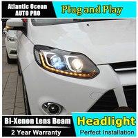 Автомобильный Стайлинг светодиодный налобный фонарь для Ford Focus 3 светодиодный фары 2012 2014 cob светодиодные фары дневного света HID комплект Би к