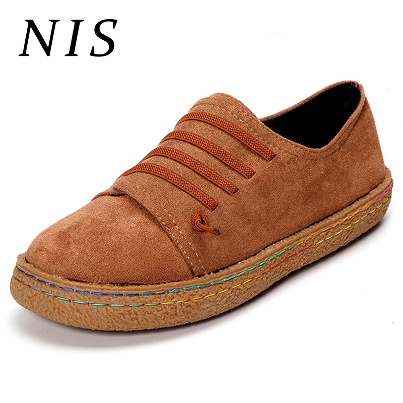 NIS Flats Women Shoes Faux Suede Slip-on Casual Flat Shoes Woman Loafers Soft Sole Vintage Walking Sneakers Plus Size Zapatos women shoes summer flat female loafers women casual flats woven shoes sneakers slip on colorful walking shoe plus size 41