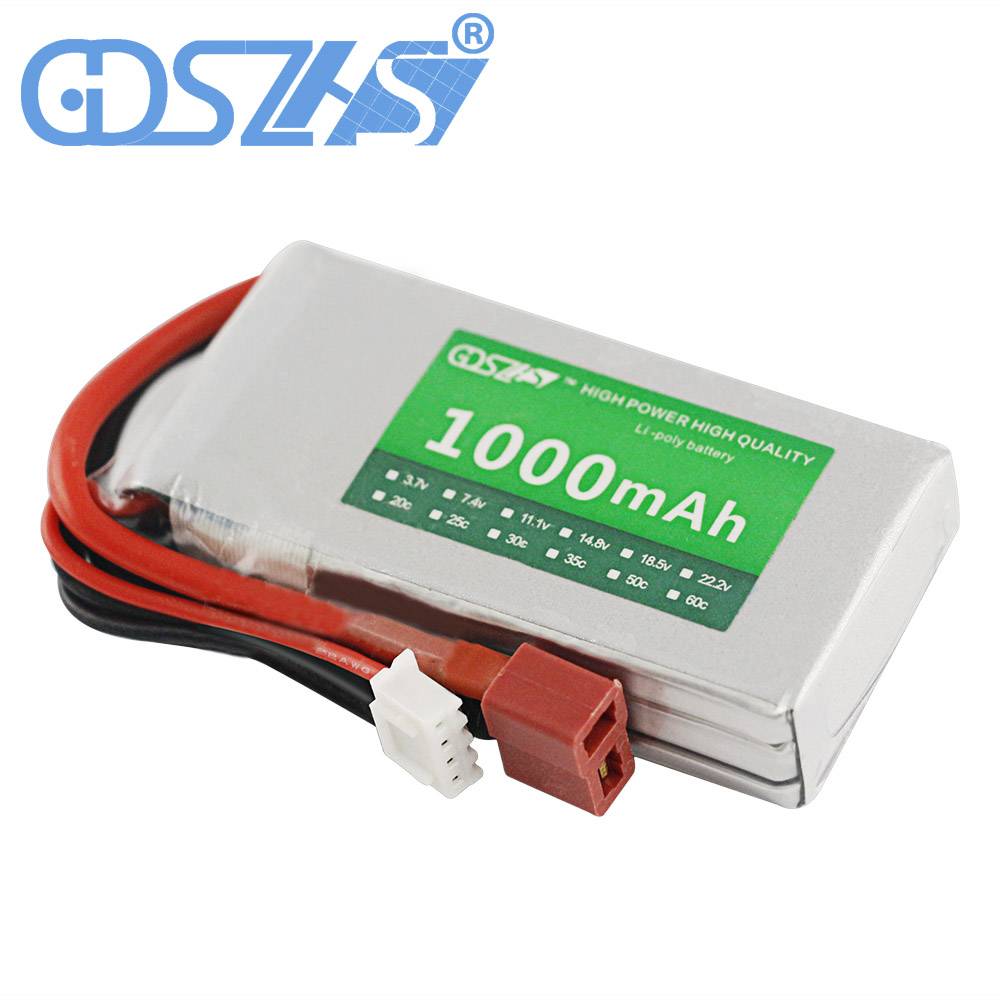 GDSZHS Rechargeable 3S Lipo Battery 11.1V 1000mAh 25C-30C For FPV RC Helicopter Car Boat Drone Quadcopter gdszhs rechargeable 3s lipo battery 11 1v 2200mah 25c 30c for fpv rc helicopter car boat drone quadcopter page 1