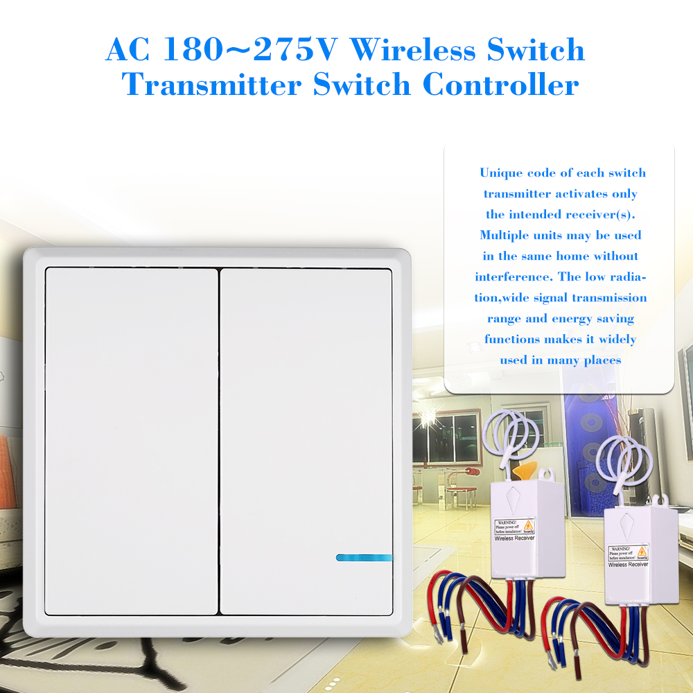 ac 180 275v wireless switch transmitter switch two receiver controller no wiring remote control waterproof for house lighting in access control kits from  [ 1000 x 1000 Pixel ]