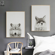 Nordic Fox Canvas Art Prints and Posters Decorative, Wall Art Wolf Paintings Picture for Kids Bedroom Home Decor