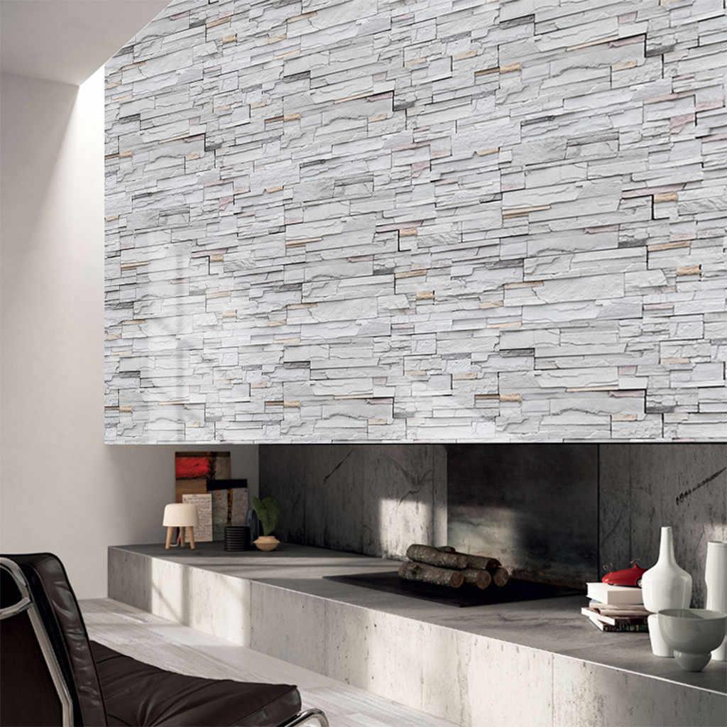 Pe 3d Stone Brick Panel Wall Sticker 45x100cm Home Decor Living Room Wallpaper For Kids Rooms Self Adhesive Diy Art Mural