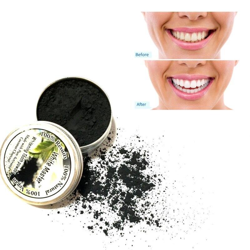 Zahnpulver Zahnaufhellung Schwarz Aktivkohle Make-up Entfernen Rauch Tee Kaffee Gelb Flecken
