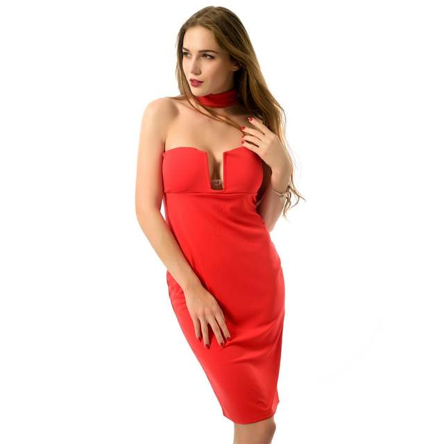 2017 Summer Women s Deep V Neck halter off shoulder clubwear sexy midi  Burgundy Bodycon Dress Strapless 847c484ef
