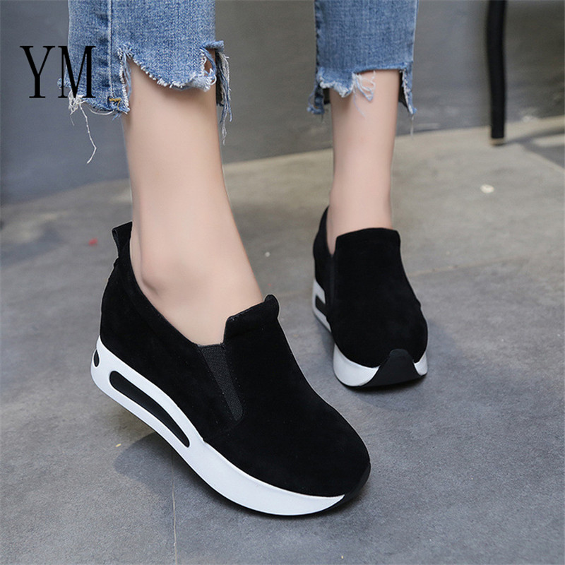 2019 Hot Flock New High Heel Lady Casual Black/ 6CM Women Sneakers Leisure Platform Shoes Breathable Height Increasing Shoes