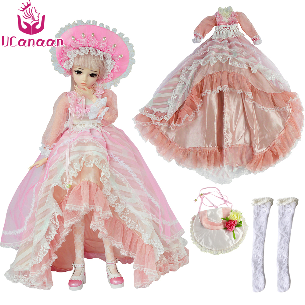UCanaan 1/3 BJD SD Clothes Set High Low Maxi Long Princess Dress For 60CM Doll High-end Custom Dresses Dolls Accessories graceful low cut wrap high slit print pure color maxi dress