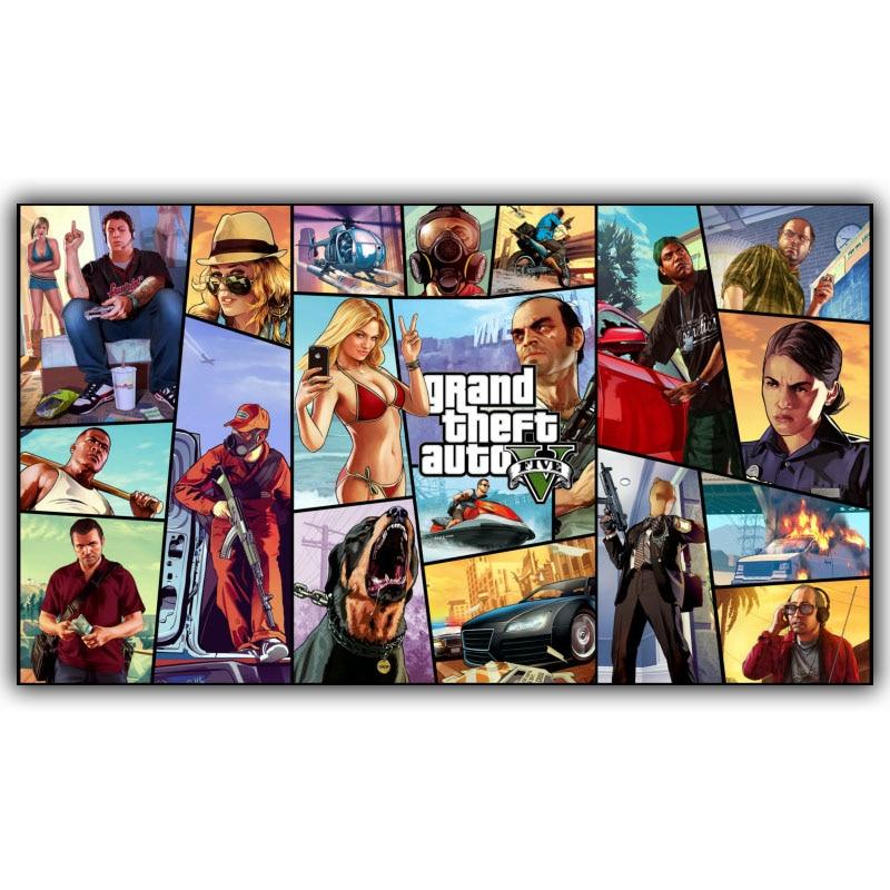 Grand Theft Auto V Art Silk Stampa Poster di Stoffa Gioco Caldo GTA 5 Immagini Per La Decorazione Della Parete 30x53 cm 60x106 cm