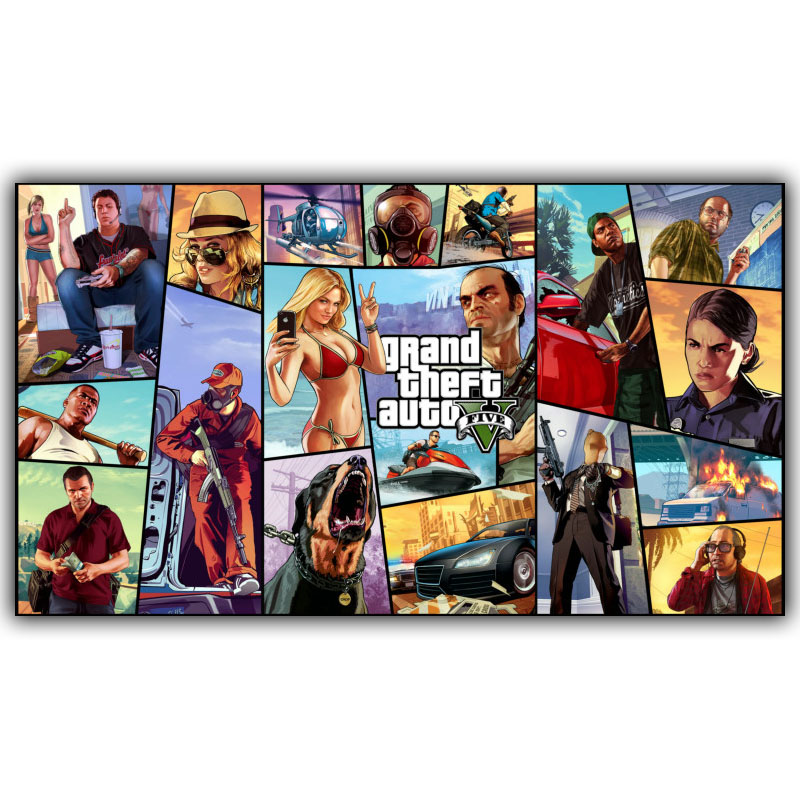 Grand Theft Auto V Art Silk Print Fabric Poster Game Hot GTA 5 Images For Wall Decoratio ...