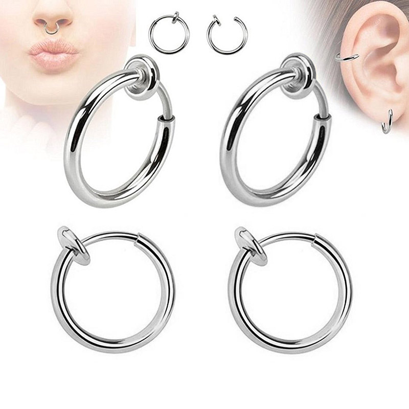 WIWI 2PCS/Set Stainless Steel Non Piercing Earrings Invisible Spring Earring Clip Nose Ring Clamp For DIY Making Findings Unisex