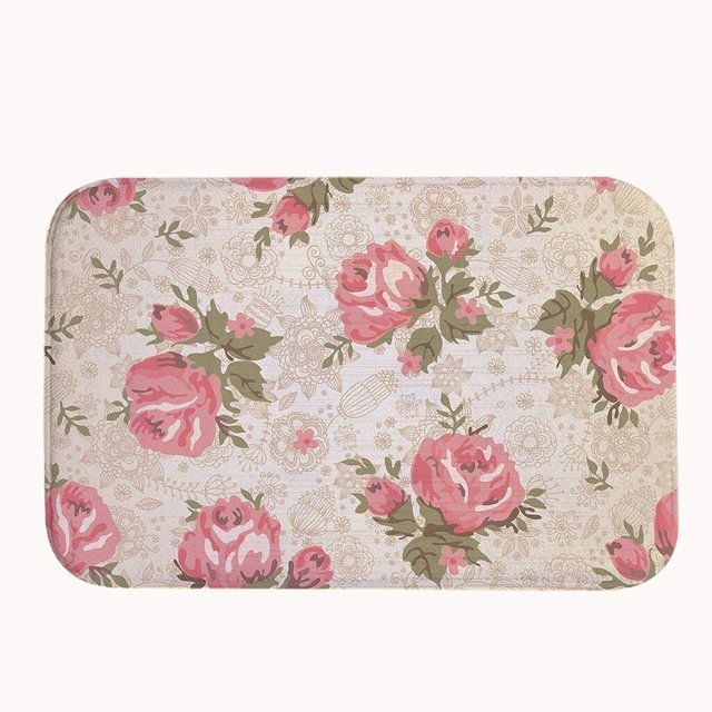 Vintage Pink Roses C Fleece Bath Mat Area Rug Door Entrance Floor Mats