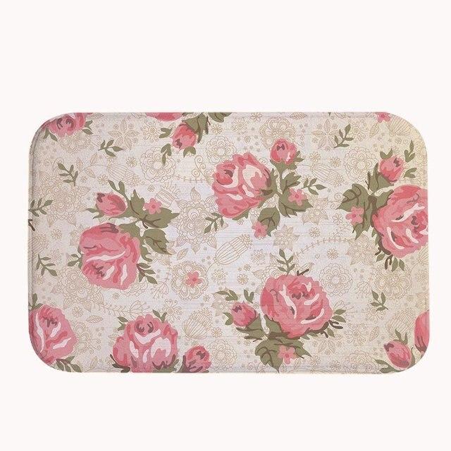 Vintage Rose Roses Corail Polaire Tapis De Bain Tapis Et Tapis De