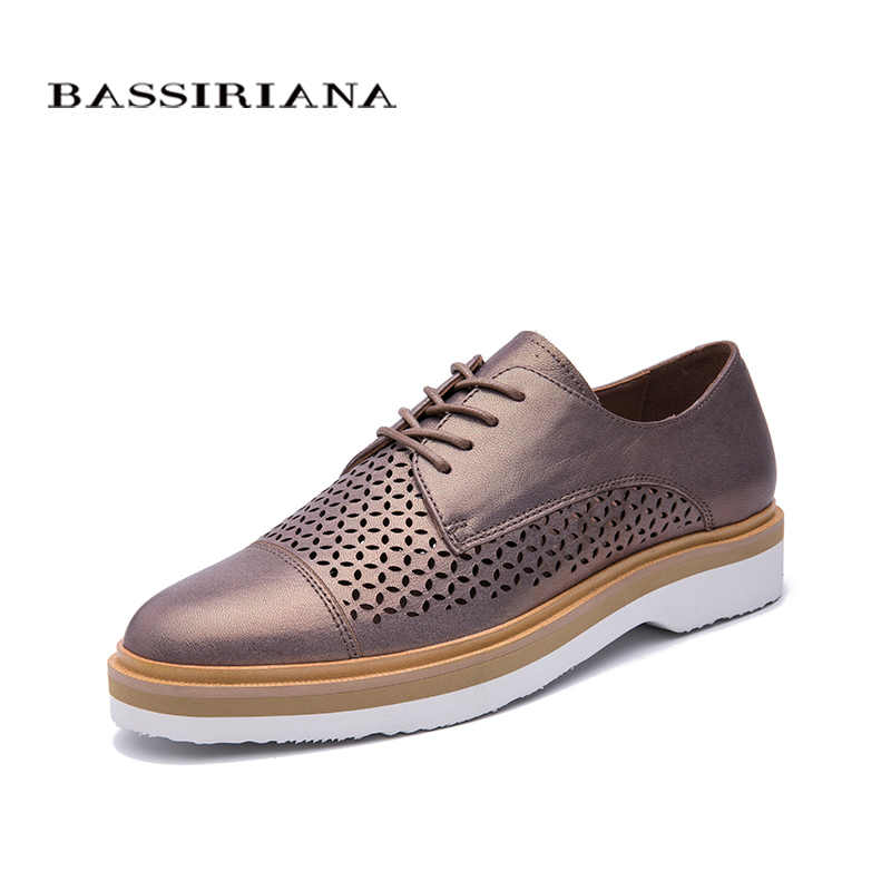 BASSIRIANA Women Natural Leather Flats basic shoes Genuine leather Round Toe Lace-Up Casual Spring Summer Women's Shoes