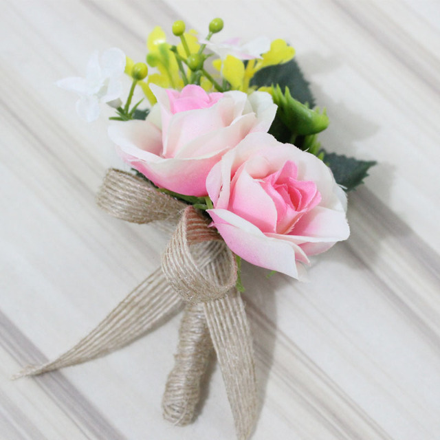 Pink Artificial Flower Buttonholes Groom Boutonniere Best Man ...