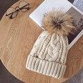 Caps Women 2017 Hot Selling Knitted Crochet Raccoon Fur Pompom Hats Cannabis Beanie Winter Spring Warm Cap Female #03