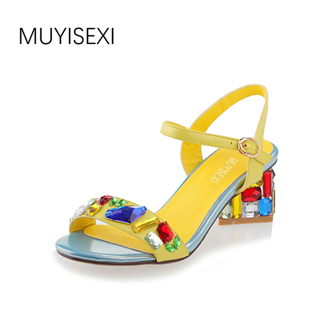 f1f1d6c7a16 MUYISEXI Sheepskin women sandals with rhinestone summer sexy high heels  ladies shoes yellow blue rose 33-43 VW01