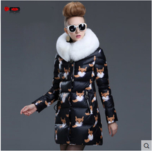 Europe Fashion Winter Women Jackets and Coats Luxury White Fox Fur Womens Parka femme abrigos y chaquetas mujer invierno 2015