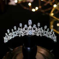 Diadèmes Zircon princesse à la mode doux 16 filles simples accessoires de cheveux de mariage femmes couronnes de mariée cristaux diadèmes