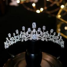 אופנתי נסיכת זירקון מצנפות מתוק 16 בנות פשוט חתונה שיער אביזרי נשים כלה כתרים קריסטלים מצנפות