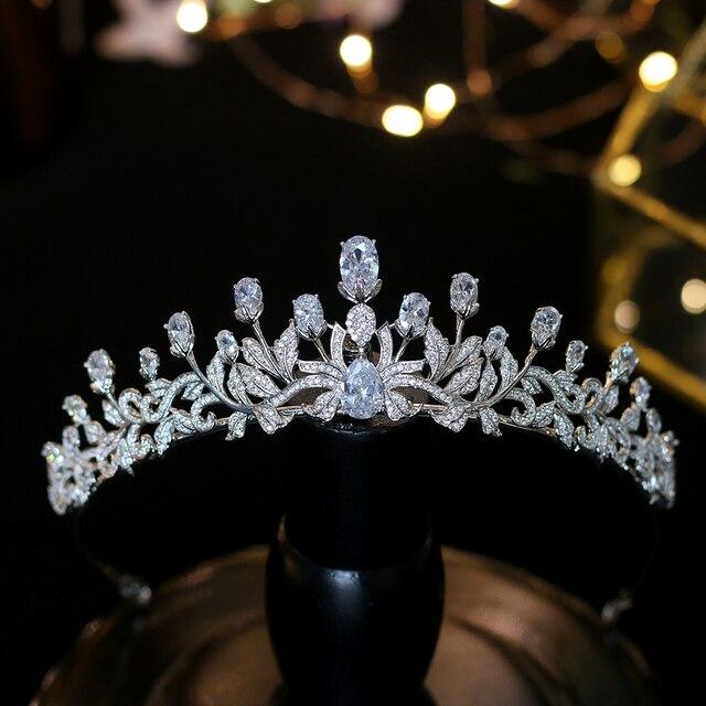 แฟชั่นเจ้าหญิง Zircon Tiaras หวาน 16 สาวงานแต่งงานอุปกรณ์เสริมผมผู้หญิงมงกุฎเจ้าสาวคริสตัล Tiaras