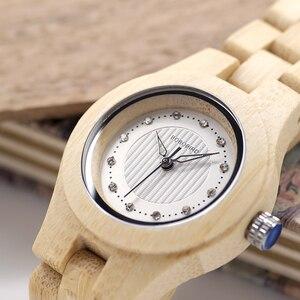 Image 4 - Bobo Vogel O10 Bamboe Vrouwen Horloges Crystal Dial Dames Quartz Jurk Horloge In Houten Doos