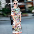 Элегантный весенние платья 2015 новое прибытие Американских и Европейских взлетно-посадочной полосы моды люксовый бренд добби печати midi тонкий леди платья