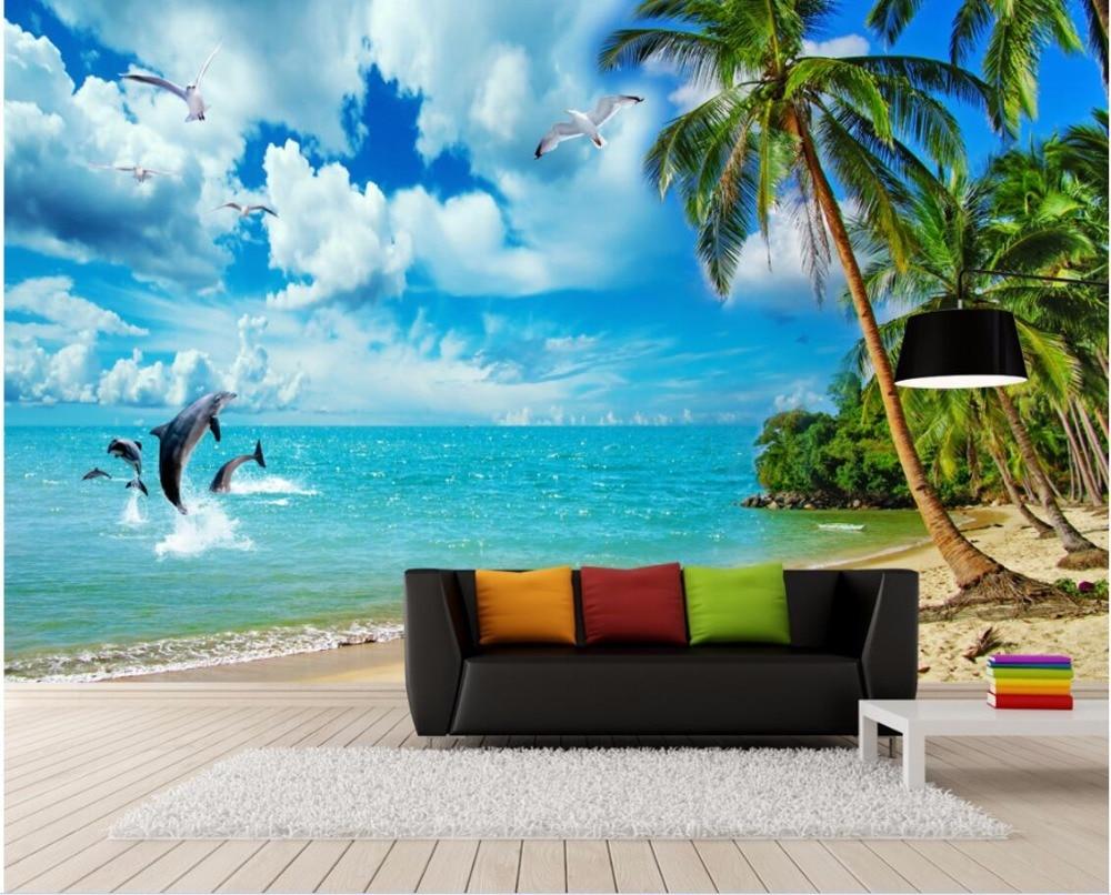Custom 3 D Photo Wallpaper Wall Murals 3d Wallpaper Beach: Aliexpress.com : Buy Custom Photo 3d Room Wallpaper Mural