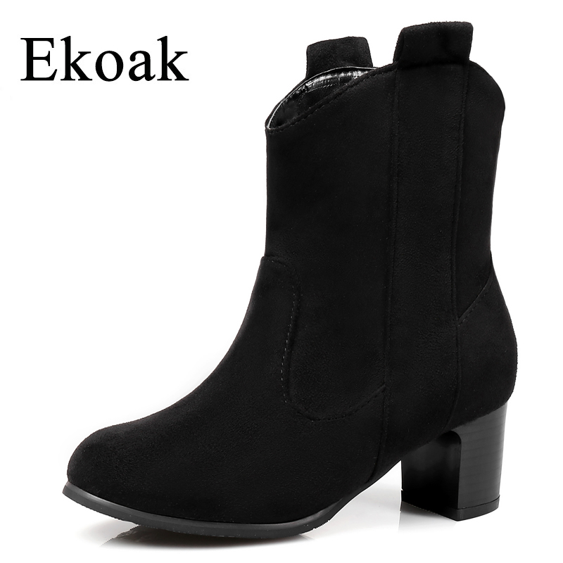 Ekoak New 2018 Fashion Women Boots Western Boots For Women Ankle Boots Ladies High Heels Shoes Woman Rubber Boots ekoak new 2017 winter boots fashion women boots warm plush mid calf boots ladies platform shoes woman rubber leather snow boots