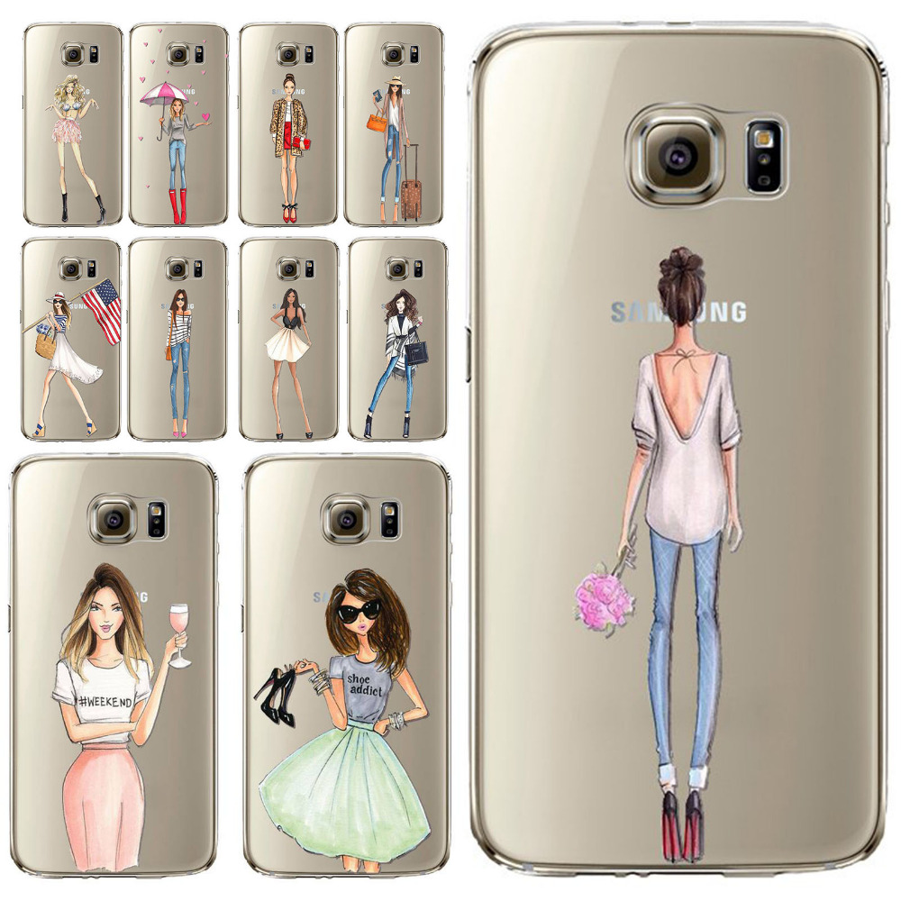 Sexy Modern Lady Girl Phone Case For Samsung Galaxy S5 S6 -9650