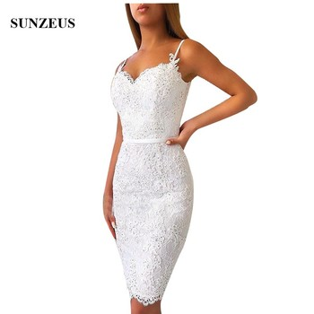 Short Lace Dress Bridesmaid Sheath Spaghetti Straps Sweetheart Knee Length Wedding Party Gowns With Appliques Beads Prom Dress фото