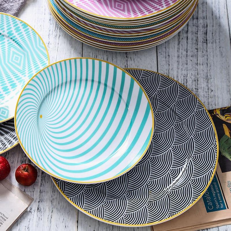 Vaisselle à géométrie colorée 8/10 pouces | Vaisselle 4 pièces, Phnom Penh assiette à dîner en céramique, assiette à Dessert en porcelaine, assiette à gâteau - 4