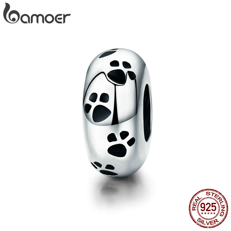 BAMOER Neue Ankunft 100% 925 Sterling Silber Hund Tier Fußabdruck Spacer Perlen fit Charm Armband & Halskette DIY Schmuck SCC594