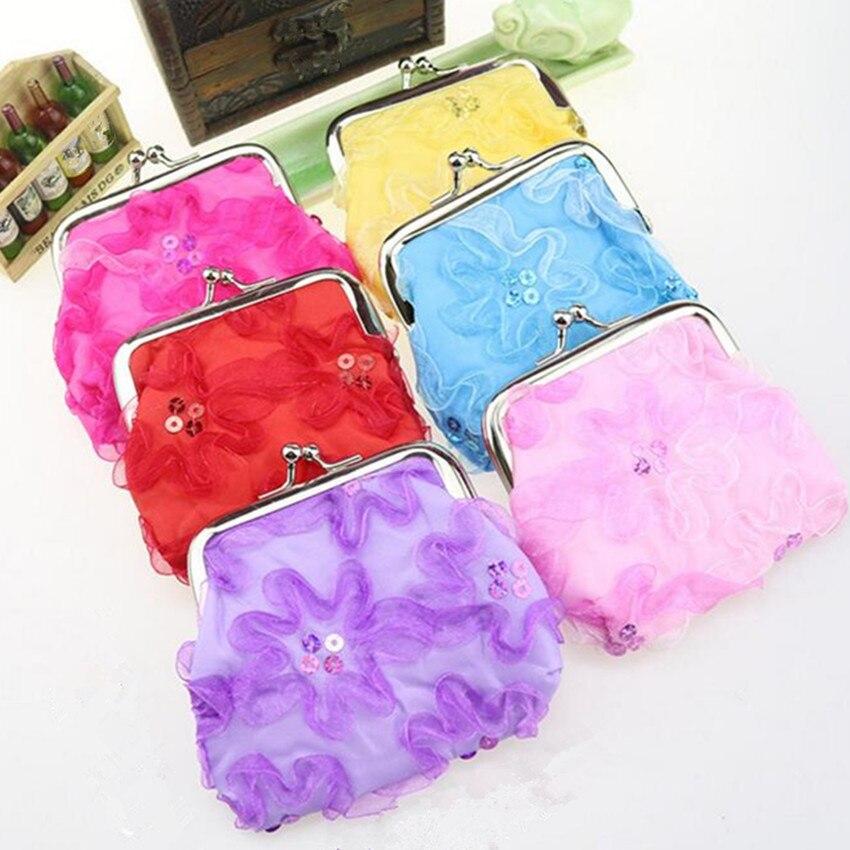 M216 Lovely Mini Coin Purse Cartoon Wave Lace Buckle Fresh Cloth Art Children Coin Bag