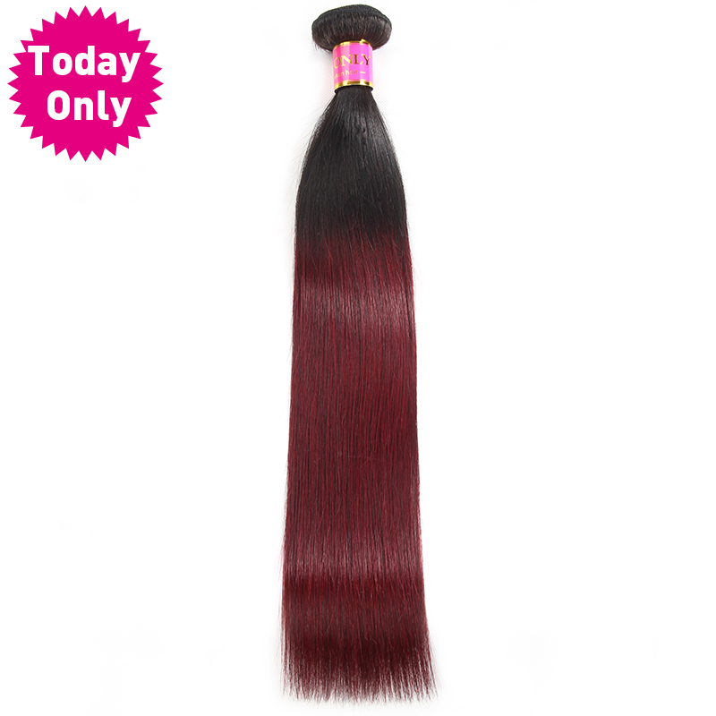 [TODAY ONLY] Burgundy Brazilian Straight Hair Ombre Human Hair Weave Bundles Two Tone 1b 99J Hair Weaving 100g/pc Non Remy Hair