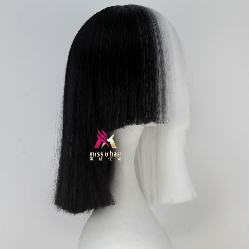Synthetic None-lacewigs Hair Extensions & Wigs Miss U Hair High Temperature Fiber Half Black Half Blonde White Hair Medium Kinky Straight Cosplay Costume Party Wig For Women