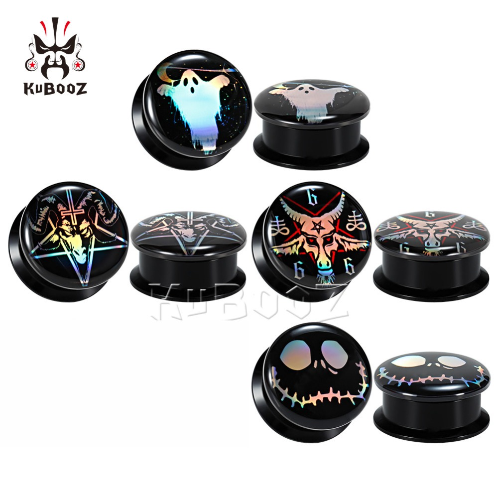 KUBOOZ 72PC Ear Piercing Body Jewelry Expander Picture Logo Earrings Extender Tunnels Plugs Fashion Gauges Stud