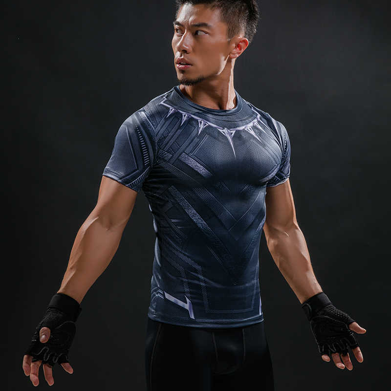 dc1a659e98f ... Black Panther 3D Printed T-Shirt Men Compression Fashion Men T Shirt  Marvel Avengers Cosplay ...