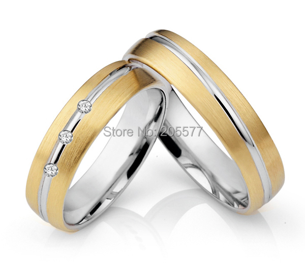Custom European western style mens and womens Titanium wedding rings     Custom European western style mens and womens Titanium wedding rings sets  with Gold Plating