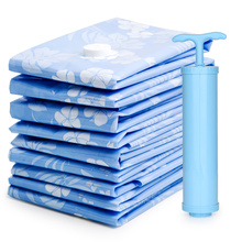 6pcs/lot Jumbo Blue Vacuum Bags with Hand Pump Compressed Organization Space Saver for Bedding and Clothing Underbed Storage Bag