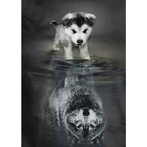 """Full Square Drill 5D DIY Diamond Painting """"dog to wolf"""" 3D Embroidery set Cross Stitch Mosaic Decor gift  YY Pakistan"""