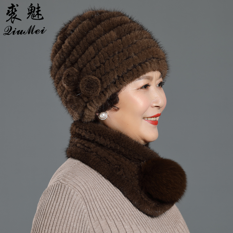 Three Flower Women Winter Knitted Genuine Mink Fur Cap Hats & Real Fox Fur Ball Scarves Outdoor Knitted Natural Fur Beanie Scarf