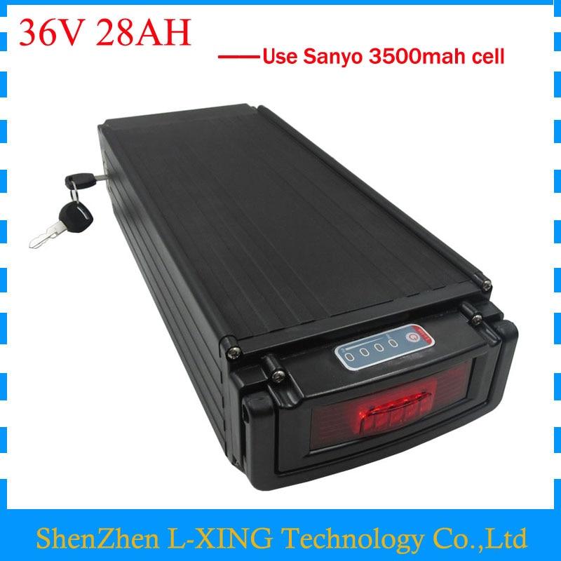 1000W e bike battery 36v 28ah lithium battery 36V 28AH rear rack battery with tail light use Sanyo 3500mah cell 30A BMS цена 2016
