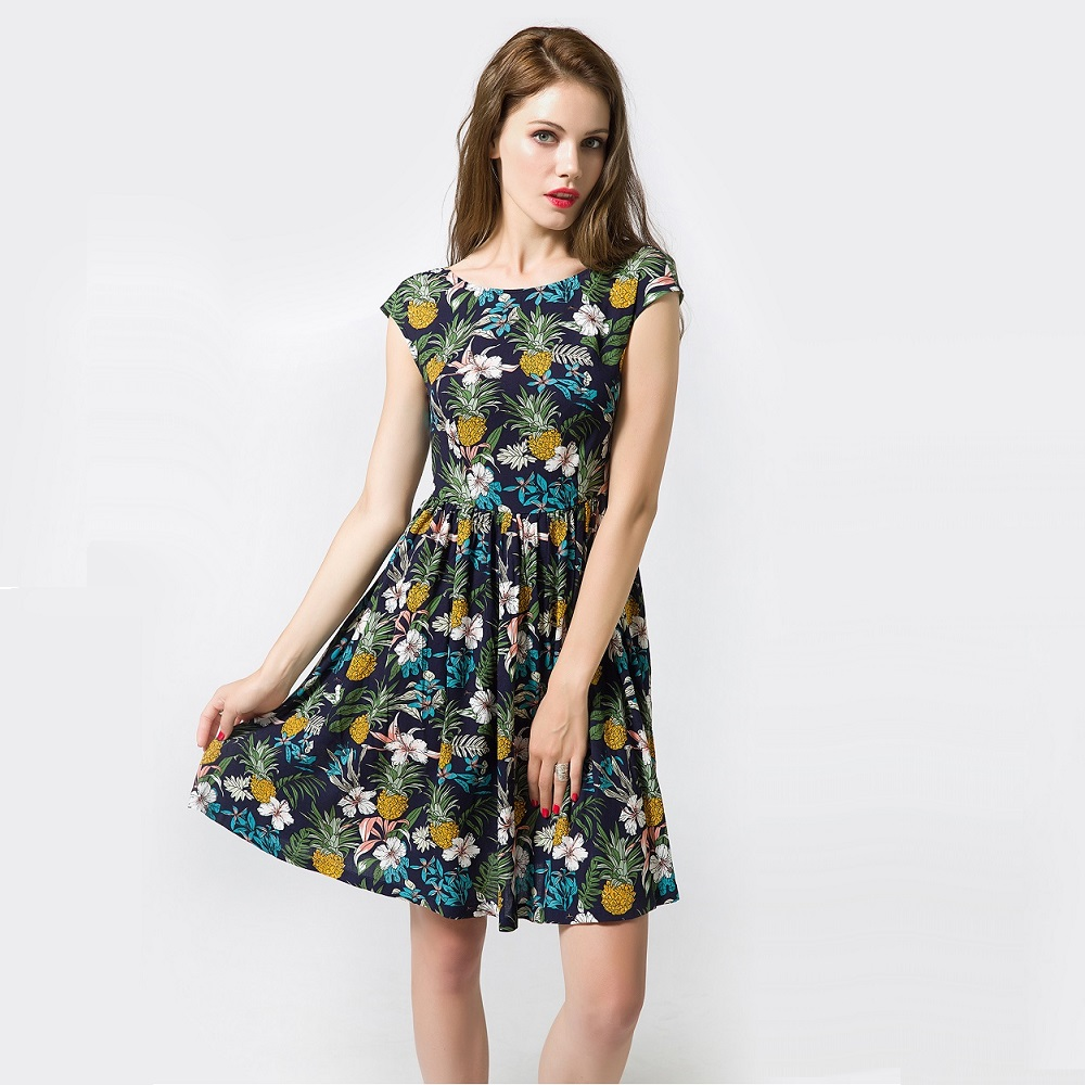 88dc0e218ae 2018 Women Summer Midi Dress Fashion Pineapple Printed Short Sleeve Draped  Dress Casual Beach Party Dresses Big Size Talever-in Dresses from Women s  ...