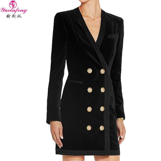 b8a47994c2f Yuxinfeng 2018 Autumn Black Velvet Blazer Dress Women Double Breasted  Zipper Fashion V Neck Long Sleeve OL Formal Dress Short