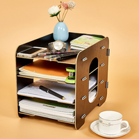 Household Detachable Desktop Box Office Desktop File Holder Creative Storage Box Wooden Multilayer Shelf Mobile Shelf XI2251656