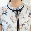 2017 Summer Floral Print Chiffon Blouse Ruffled Collar Bow Neck Shirt Petal Short Sleeve Chiffon Tops Plus Size Blusas Femininas 2