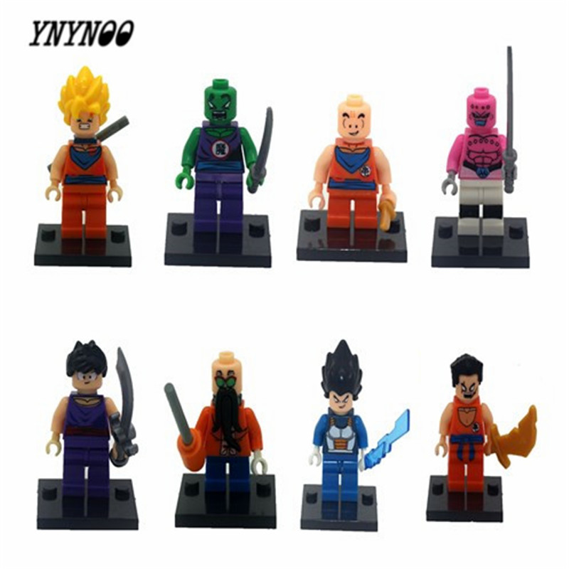 YNYNOO 8pcs/lot JR265 Dragon Ball Z Figure Son Goku/Vegeta/Master Roshi/Krillin Models Children Gifts Toys Building Block Drop jlb 33901 33906 dragon ball z son goku vegeta master roshi minifigures toys building blocks sets model bricks figures legoelieds