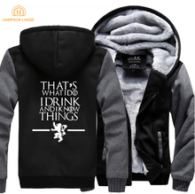 HAMPSON LANQE Game of Thrones Thats What I Do Drink and know Things Brand Hoodies Mens 2019 Winter Fleece Men Sweatshirts