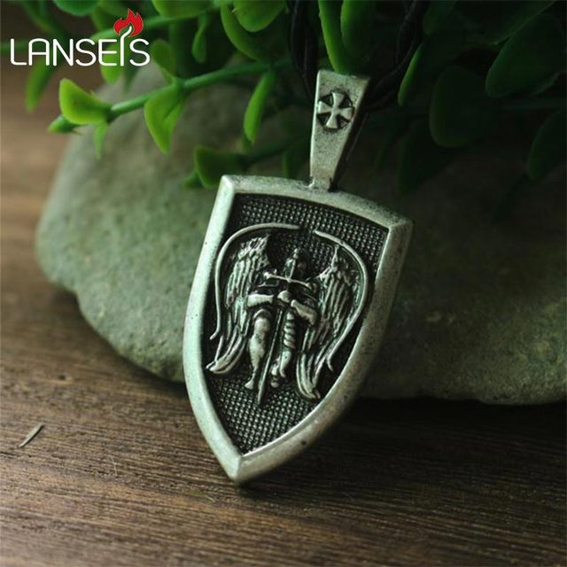 Lanseis 10pcs men necklace archangel stmichael protect me saint lanseis 10pcs men necklace archangel stmichael protect me saint shield protection pendant jewelry aloadofball Image collections