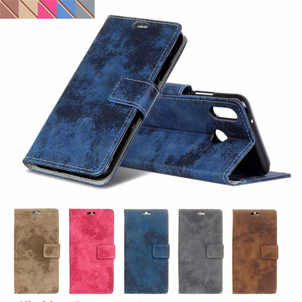 Vintage Wallet Folding Flip Case with Kickstand, Card Holder, Magnetic Closure Protective Cover for Xiaomi Redmi Note 5 Pro