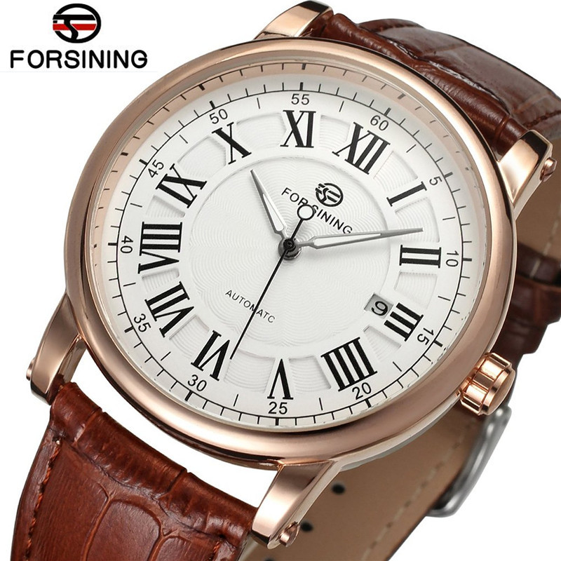 Forsining Classic Roman Man Watches Rose Gold White Dial Men Day Auto Mechanical Watch Wristwatch Gift Free Ship fashion men s horloges mannen roman auto day quartz stopwatch sport men s watch mens wirst watches gift box free ship